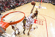BLOOMINGTON, IN - FEBRUARY 09,  Forward Juwan Morgan #13 of the Indiana Hoosiers dunk during the game against the Minnesota Golden Gophers and the Indiana Hoosiers at Simon Skjodt Assembly Hall in Bloomington, IN Photo By Craig Bisacre/Indiana Athletics
