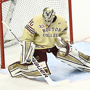 Thatcher Demko #30 of the Boston College Eagles stops a shot during The Beanpot Championship Game at TD Garden on February 10, 2014 in Boston, Massachusetts. (Photo by Elan Kawesch)