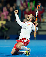 LONDON -  Unibet Eurohockey Championships 2015 in  London.  semi-final England v Germany (-2). Ger. wins after shoot-out. . English Ashley Jackson has scored 2-2 (ps).  WSP Copyright  KOEN SUYK