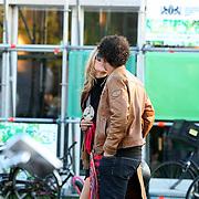 NLD/Amsterdam/20070727 - Amsterdam fashionweek 2007, Caroline Spoor met zonnebril en partner Jon Karthaus
