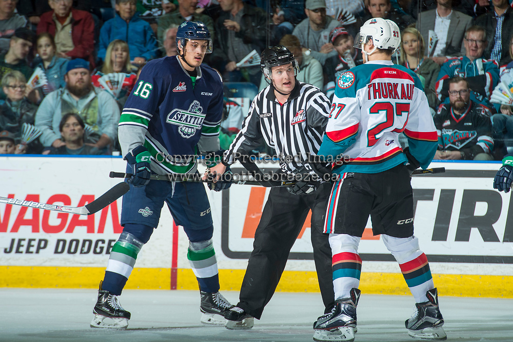 KELOWNA, CANADA - APRIL 25: Alexander True #16 of the Seattle Thunderbirds faces off against Calvin Thurkauf #27 of the Kelowna Rockets on April 25, 2017 at Prospera Place in Kelowna, British Columbia, Canada.  (Photo by Marissa Baecker/Shoot the Breeze)  *** Local Caption ***
