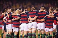 British and Irish Lions in a team huddle just prior to the start of the second test between the DHL Australian Wallabies vs HSBC British And Irish Lions at Etihad Stadium, Melbourne, Victoria, Australia. 29/06/0213. Photo By Lucas Wroe