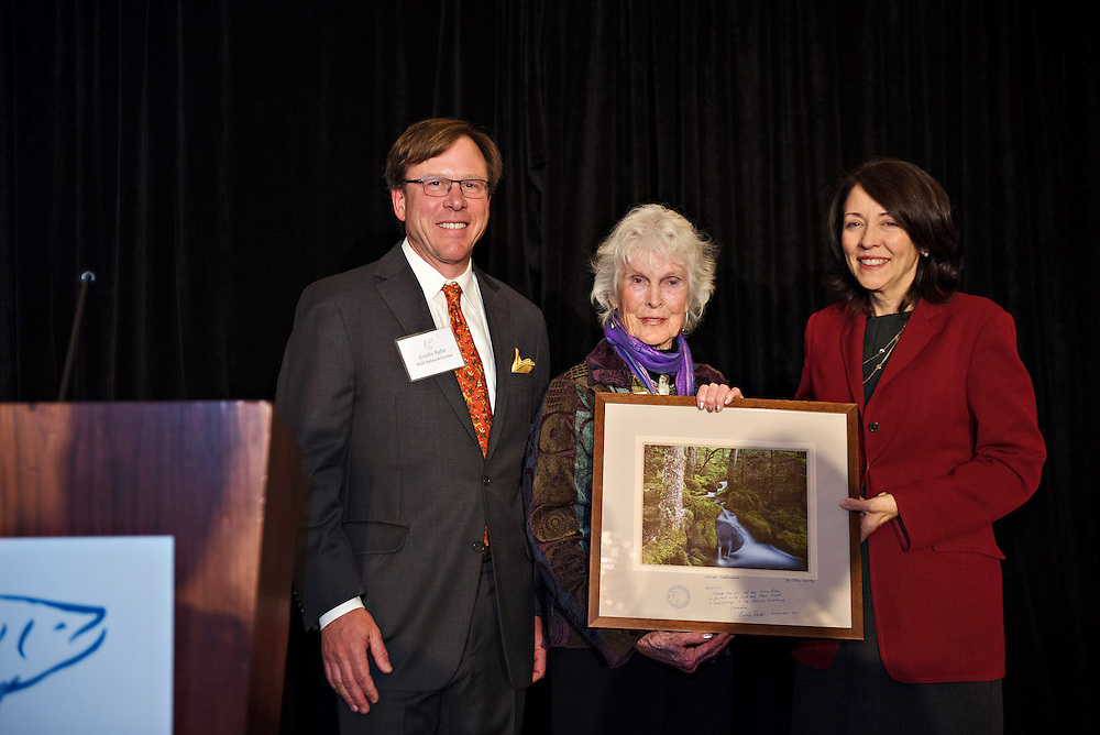 Wild Salmon Center: Conservationist Harriet Bullitt is gifted my photograph by Wild Salmon Center CEO Guido Rahr and U.S. Senator Maria Cantwell (12 November 2015).