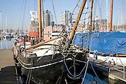 Historic wooden sailing barge Wet Dock marina, Ipswich, Suffolk, England