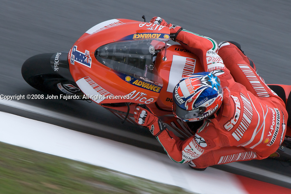 2007 MotoGP World Champion and Marlboro Ducati rider Casey Stoner during the MotoGP practice session for the Polini Malaysian Motorcycle Grand Prix at the Sepang Circuit, Selangor Malaysia, October 17, 2008.