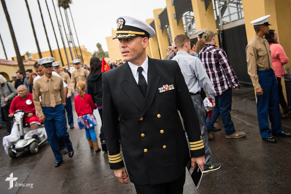 Cmdr. Charles E. Varsogea, chaplain at the Marine Corps Recruit Depot, walks Friday, Jan. 30, 2015, following the recruit graduation ceremony at the depot in San Diego, Calif. LCMS Communications/Erik M. Lunsford