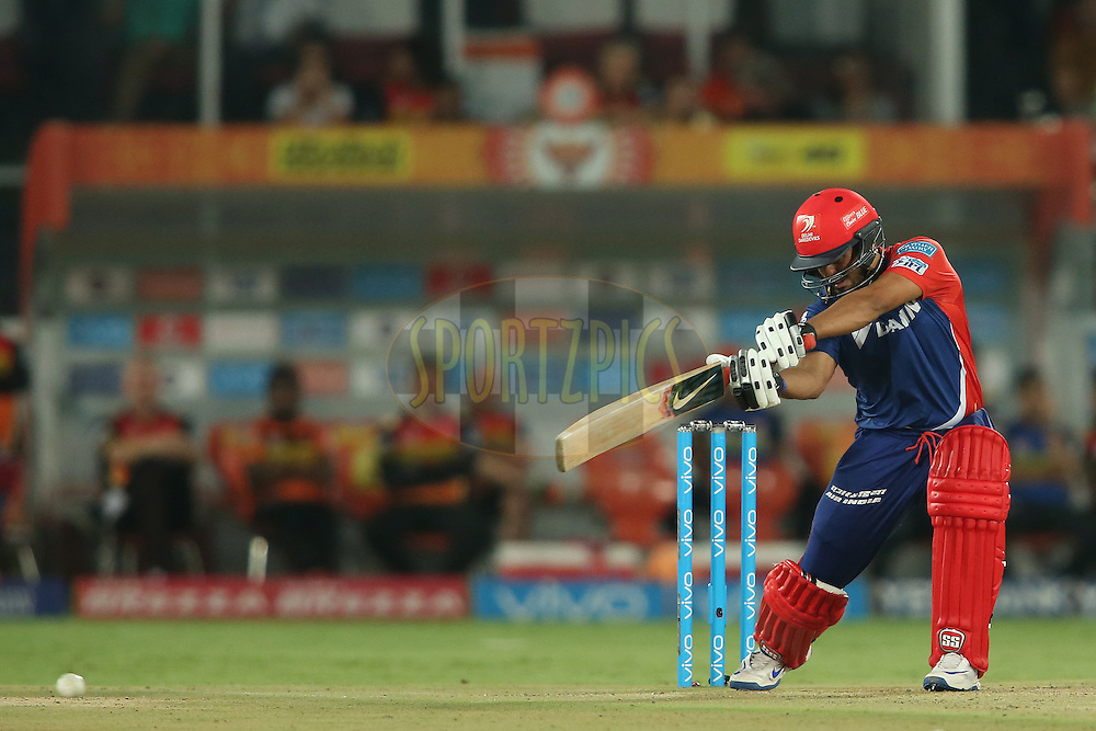 Karun Nair of Delhi Daredevils cover drives a delivery during match 42 of the Vivo IPL 2016 (Indian Premier League) between the Sunrisers Hyderabad and the Delhi Daredevils held at the Rajiv Gandhi Intl. Cricket Stadium, Hyderabad on the 12th May 2016<br /> <br /> Photo by Shaun Roy / IPL/ SPORTZPICS