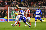 Nottingham Forest defender Danny Fox (13) battles with Reading defender Chris Gunter (2) during the EFL Sky Bet Championship match between Nottingham Forest and Reading at the City Ground, Nottingham, England on 20 February 2018. Picture by Jon Hobley.