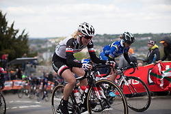 Rozanne Slik (NED) of Team Sunweb rides up the Mur de Huy during La Flèche Wallonne Femmes - a 120 km road race, starting and finishing in Huy on April 19, 2017, in Liège, Belgium.