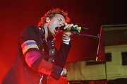 Chris Martin of Coldplay performs live on stage at Carling Brixton Academy on June 16, 2008 in London, England.(Photo by Simone Joyner)