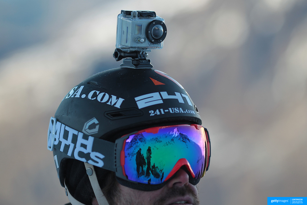 Mike Basich, USA, survey's the mountain before competition with a Go Pro Hero camera mounted to his helmet during the World Heli Challenge Extreme Day at Mount Albert on Minaret Station, Wanaka, New Zealand. 1st August 2011