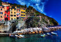 """Cinque Terre from the sea preparing the boats in Riomaggiore""….<br />