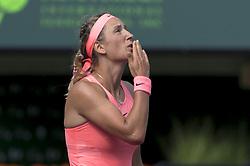 March 21, 2018 - Miami, FL, United States - Miami, FL - March, 21: Viktoria Azarenka (BLR) in action here defeats Catherine Bellis (USA) 63 63 at the 2017 Miami Open held at the Tennis Center at Crandon Park.   Credit: Andrew Patron/Zuma Wire (Credit Image: © Andrew Patron via ZUMA Wire)