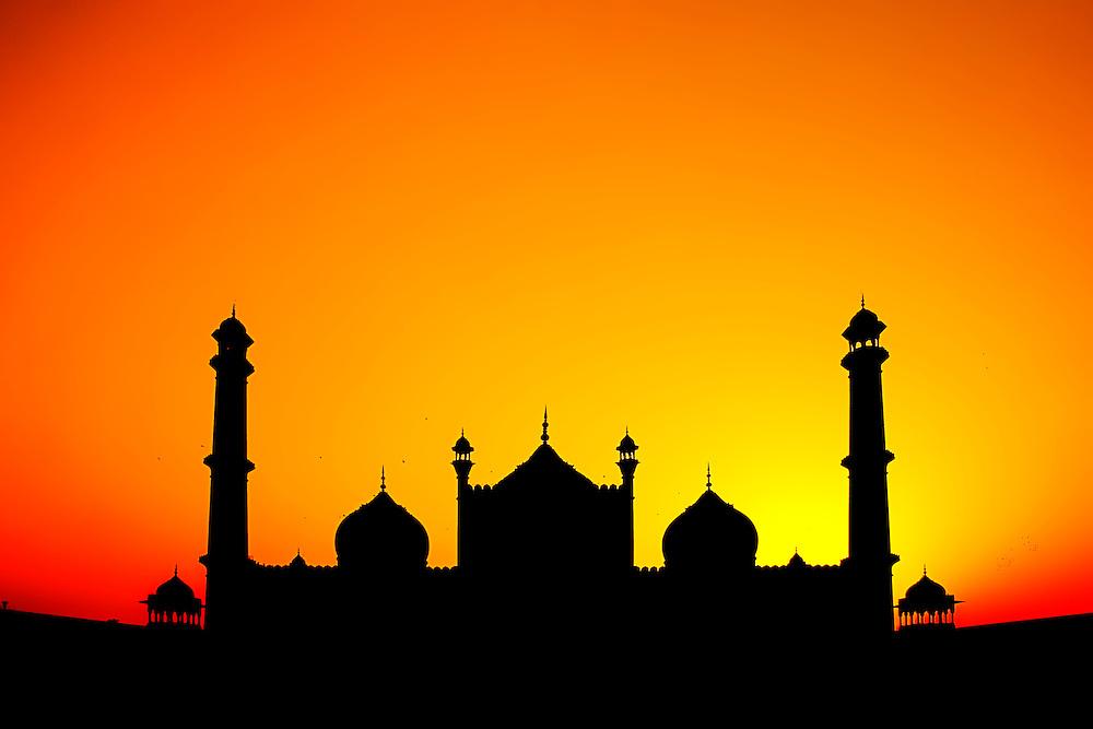 Silhouette of Jama Masjid, New Delhi, India.