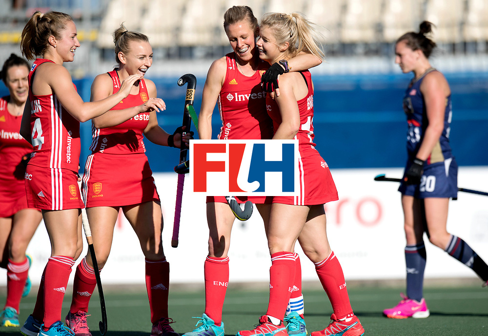 AUCKLAND - Sentinel Hockey World League final women<br /> Match id: 10304<br /> 15 USA v ENG (QF)<br /> Foto:  Sophie Bray scores 0-1, with /15 and Shona Mccallin (l).<br /> WORLDSPORTPICS COPYRIGHT FRANK UIJLENBROEK