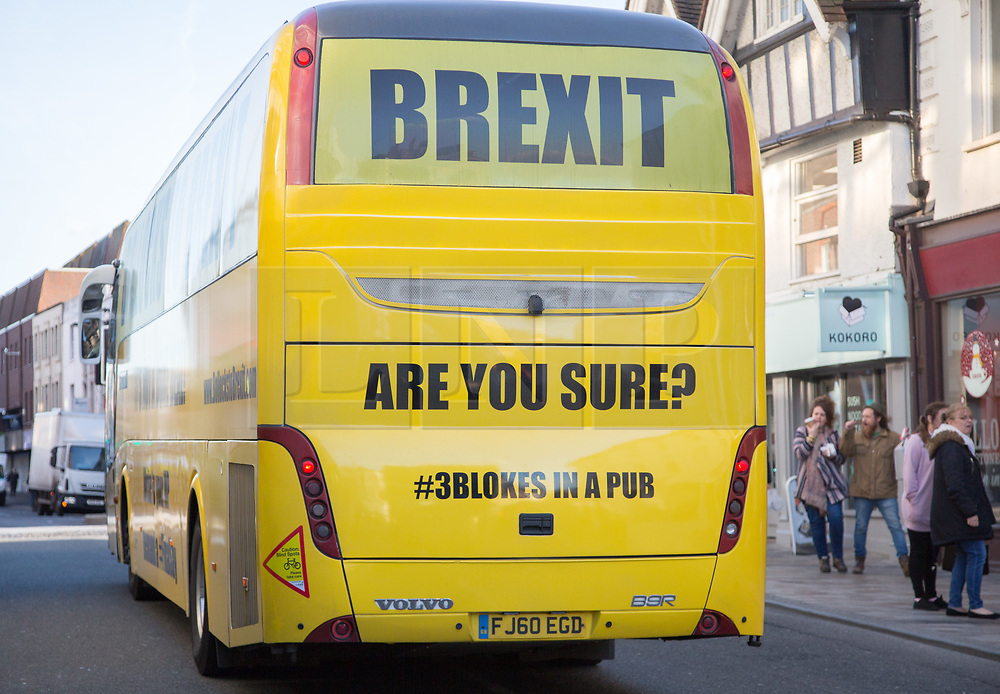"@Licensed to London News Pictures 12/12/2018. Maidstone, Kent.  The official anti-Brexit tour bus branded with the words ""Bollocks To Brexit"" arrives outside Jubilee Square in Maidstone today. Campaigners for the 2nd referendum are on a nationwide tour across the UK, Belgium and Ireland promoting public debate the benefits of remaining in the EU.Photo credit: Manu Palomeque/LNP"