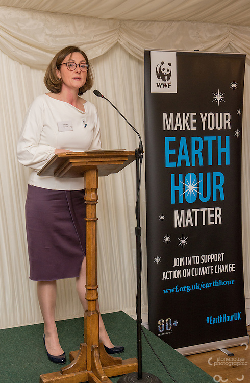 Tanya Steele WWF UK Ceo speaking at WWF UK Earth Hour 10th Anniversary Parliamentary Reception, Terrace Pavilion, Palace of Westminster. 28th Feb. 2017