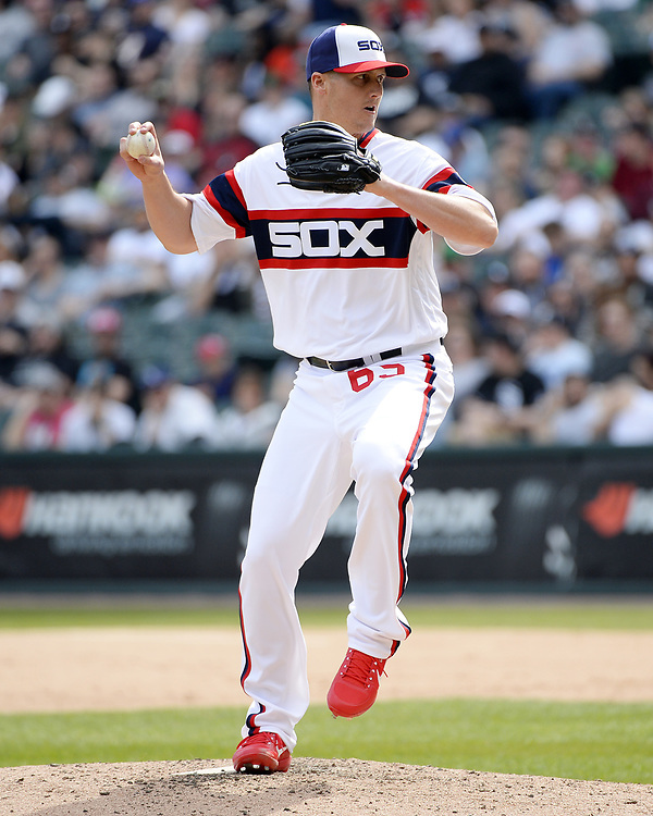 CHICAGO - APRIL 09:  Nate Jones #65 of the Chicago White Sox pitches against the Minnesota Twins on April 9, 2017 at Guaranteed Rate Field in Chicago, Illinois.  (Photo by Ron Vesely)   Subject:  Nate Jones