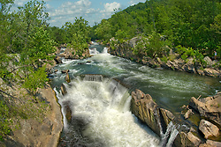 Great Falls rapids with tall cliff walls