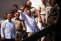 Mar 20, 1988; Panama City,  , PANAMA; Feared Panamanian leader General MANUEL ANTONIO NORIEGA at the National Guard Barracks. In December 1989 the U.S. armed forces invaded Panama, captured Noriega and brought him to Miami for trial. He was convicted in 1992 on eight counts of racketeering, drug trafficking and money laundering and is serving a 40-year sentence in a U.S. feredal penitentiary.  (Credit Image: © Bill Gentile/ZUMAPRESS.com)