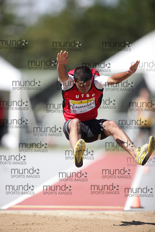 Ottawa, Ontario ---10-08-07--- Thasarathan competes in the long jump at the 2010 Royal Canadian Legion Youth Track and Field Championships in Ottawa, Ontario August 7, 2010..JULIE ROBINS/Mundo Sport Images.
