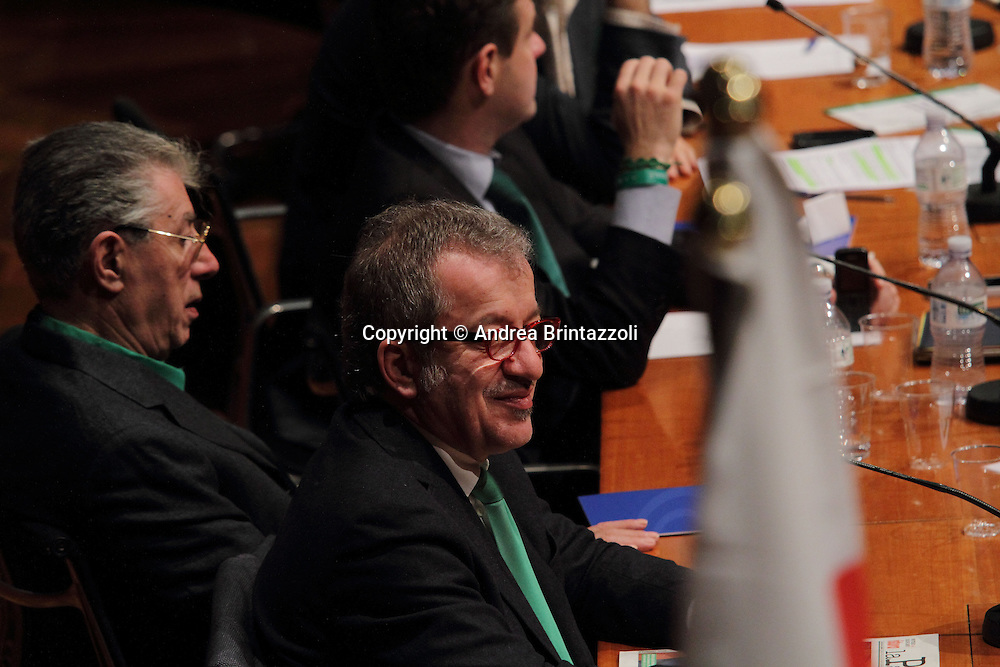 Torino 15 Dicembre 2013. Lingotto Fiere Congresso Federale Lega Nord Padania.<br /> Roberto Maroni, Umberto Bossi