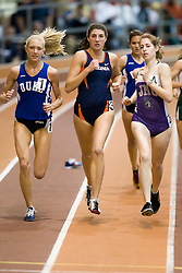 Katie Doswell (Duke), Morgan Bolen (Virginia) and Alison Parris (James Madison) in the women's 1000m run.  Day 2 of the Virginia Tech Invitational Track and Field meet was held at the Rector Field House on the campus of Virginia Tech in Blacksburg, VA on January 12, 2008.