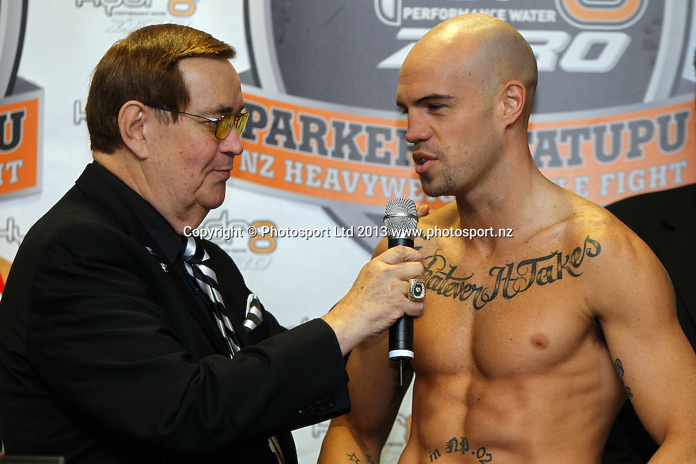 Sam Rapira, Weigh In ahead of tomorrow nights Hydr8 Zero, Parker v Tatupu boxing match for the NZNBF title, Trusts Stadium, Auckland, 9 October 2013. Photo: William Booth/www.photosport.co.nz