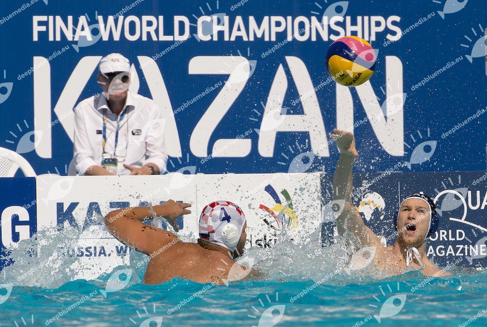 Canada<br /> Water Polo Men Croatia (white) Vs. Canada (black) CRO-<br /> Kazan Water Polo ArenaCAN<br /> Day04 27/07/2015<br /> XVI FINA World Championships Aquatics <br /> Kazan Tatarstan RUS July 24 - Aug. 9 2015 <br /> Photo G.Scala/Deepbluemedia/Insidefoto