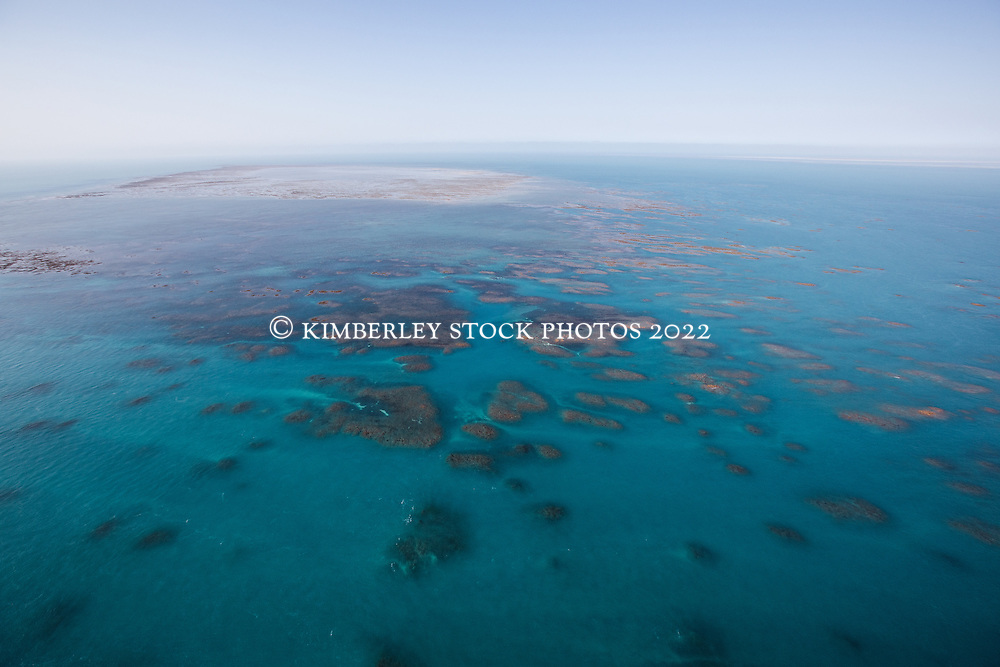 Aerial view of the bombies surrounding Churchill Reef near Adele Island on the Kimberley coast.