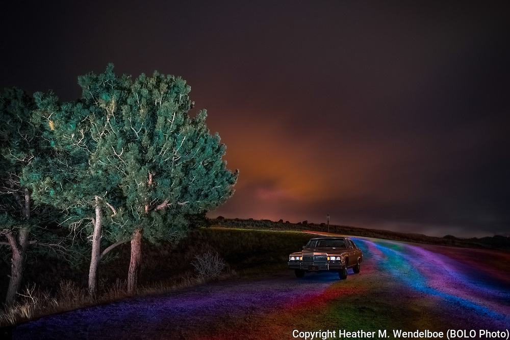 BOLO Photo<br /> Wild West Automotive Photography<br /> April Under a Tie-Dye Midninght Sky<br /> April 22-23, 2019: Granite Dam Overlook in Curt Gowdy State Park, Wyoming <br /> (1978 Cadillac Fleetwood: Chad Miller)