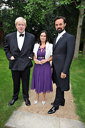 Left to right, BORIS JOHNSON, his wife MARINA and EVGENY LEBEDEV at the Raisa Gorbachev Foundation fourth annual fundraising gala dinner held at Stud House, Hampton Court, Surrey on 6th June 2009.