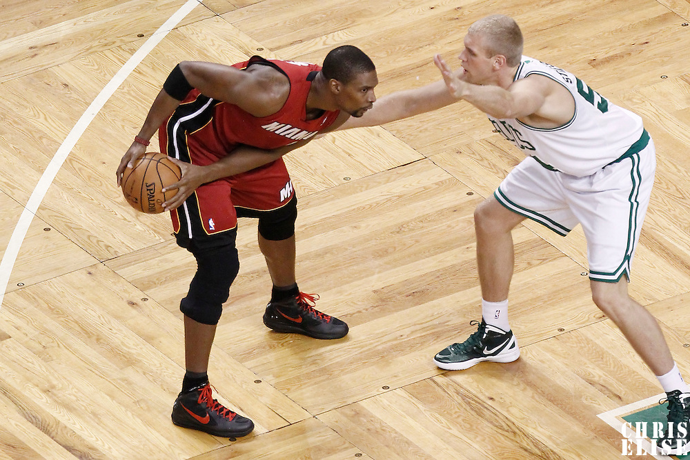 07 June 2012: Boston Celtics center Greg Stiemsma (54) defends on Miami Heat power forward Chris Bosh (1) during the Miami Heat 98-79 victory over the Boston Celtics, in Game 6 of the Eastern Conference Finals playoff series, at the TD Banknorth Garden, Boston, Massachusetts, USA.