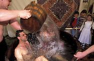 BEL, Belgium, Eastbelgium, Kelmis, Calamine, Middle Ages festival at castle Eyneburg, Vikings taking a bath.....BEL, Belgien, Ostbelgien, Kelmis, Calamine, Mittelalter-Burgfest auf der Eyneburg, Wikinger beim Bad....... ..