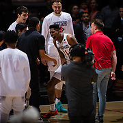 03 February 2018: The San Diego State Aztecs look to rebound after a couple losses against Air Force Saturday night. The Aztecs beat the Falcons 81-50 at Viejas Arena.<br /> More game action at www.sdsuaztecphotos.com