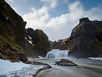 Stjórnarfoss waterfall, located close to an ancient site of the regional assembly, Kleifar. Kirkjubæjarklaustur, Southeast Iceland.