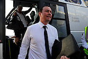 Plymouth Argyle manager Derek Adams gets off the team bus at Fratton Park for the Sky Bet League 2 play-off first leg match between Portsmouth and Plymouth Argyle at Fratton Park, Portsmouth, England on 12 May 2016. Photo by Graham Hunt.