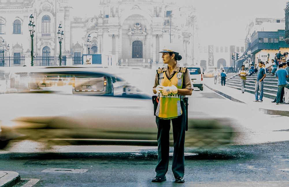 Street cop in Lima Peru.