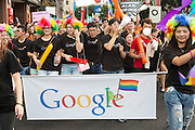 "Google staff take part in the 2014 gay pride march. The annual march through Taipei's city streets is the largest in Asia, with well over 50 000 people taking part. The 2014 event had the theme ""Walk in Queer's Shoes"", to encourage the wider community to lend their support for equal marriage rights."