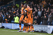 HUll City Forward, Chuba Akpom is mobbed by his team mates aftyer he scores Hull Citys opener during the The FA Cup fourth round match between Bury and Hull City at Gigg Lane, Bury, England on 30 January 2016. Photo by Mark Pollitt.