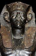 Black granite statue of King Sesostris III, 12th Dynasty (approx. 1850 BC). One of three taken from Deir el-Bahri.