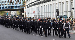 © Licensed to London News Pictures. 10/04/2017. LONDON, UK.  Police officers arrive for the procession and funeral cortege of PC Palmer outside Southwark Cathedral in London, where a full police funeral takes place this afternoon. <br /> PC Keith Palmer was stabbed to death whilst on duty in Westminster by terrorist extremist Khalid Masood last month..  Photo credit: Vickie Flores/LNP