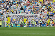 Leeds United striker, Chris Wood (9) scores a penalty during the Sky Bet Championship match between Preston North End and Leeds United at Deepdale, Preston, England on 7 May 2016. Photo by Pete Burns.