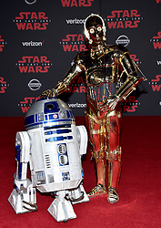 R2-D2, C-3PO attend the world premiere of Disney Pictures and Lucasfilm's 'Star Wars: The Last Jedi' at The Shrine Auditorium on December 9, 2017 in Los Angeles, CA, USA. Photo by Lionel Hahn/ABACAPRESS.COM