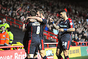Your the man - Rotherham United forward Leon Best points to Rotherham United forward Matt Derbyshire as the visitors celebrate taking a 1-0 lead during the Sky Bet Championship match between Bristol City and Rotherham United at Ashton Gate, Bristol, England on 5 April 2016. Photo by Graham Hunt.