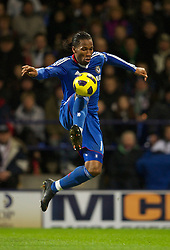 BOLTON, ENGLAND - Monday, January 24, 2011: Chelsea's Didier Drogba in action against Bolton Wanderers during the Premiership match at the Reebok Stadium. (Photo by David Rawcliffe/Propaganda)