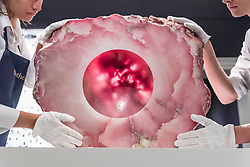 "© Licensed to London News Pictures. 01/10/2018. LONDON, UK. Technicians present ""Untitled"", 2005, by Anish Kapoor (Est. GBP400,000 - 600,000). Preview of artworks in Sotheby's Frieze sales at Sotheby's New Bond Street.  The auction will take place 5 October during Frieze and Frieze Masters – the world's most vibrant Contemporary and Modern art fairs.  Photo credit: Stephen Chung/LNP"