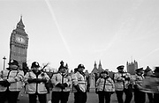A line of policemen in Parliament Square, London, U.K, 1990s.