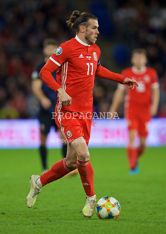 CARDIFF, WALES - Sunday, October 13, 2019: Wales' captain Gareth Bale in action in the game between Wales and Croatia at the Cardiff City Stadium. (Pic by Laura Malkin/Propaganda)