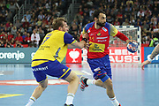 Daniel Sarmientio (Spain) and Max Darj (Sweden) during the EHF 2018 Men's European Championship, Final Handball match between Spain and Sweden on January 28, 2018 at the Arena in Zagreb, Croatia - Photo Laurent Lairys / ProSportsImages / DPPI